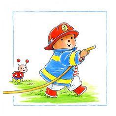 Muursticker Baby Bobbi als Brandweer Afmeting: 25 x 25 cm - Muursticker Baby Bobbi als Brandweer