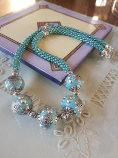 Turquoise and Silver Large Resin Bead Kumihimo Necklace
