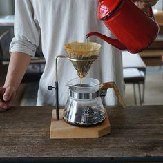 """コーヒードリップスタンド 新作です。高さ調整ができます。 スパイラルでの展示にも出品中。 our latest work """"coffee drip stand""""…"""