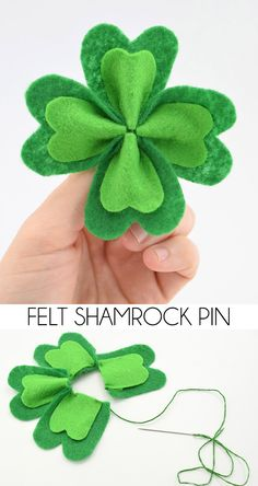 This felt four leaf clover brooch is the perfect prevention from Saint Patty's Day pinchers! You are in the right place about DIY Fabric Flowers with stems Here we offer you the most beautiful picture St Paddys Day, St Patricks Day, Saint Patricks, St Patrick's Day Crafts, Holiday Crafts, Felt Diy, Felt Crafts, Felt Flowers, Fabric Flowers