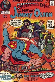 """Guess who just got a job as writer/artist on """"Jimmy Olsen""""? Jack Kirby left Marvel for DC and it shows: Jimmah has fallen into the (Cadmus) DNA Project, run by the smarter sons of the Newsboy Legion. While Kirby had a free hand, DC management redrew Superman's face to conform to what's norm."""
