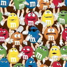 M Candy Characters | yards Licensed M & M Candy Characters LOGO Funfetti Cotton fabric by ...