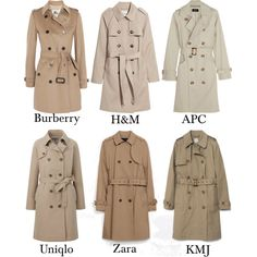 Trench Coat by lasingularite on Polyvore featuring moda, Zara, H&M, Burberry, A.P.C. and Uniqlo