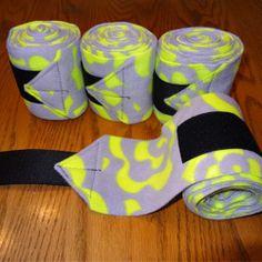 Set of 4 New Soft Fleece Polo Horse Leg Wraps - Neon Yellow Flowers on Gray