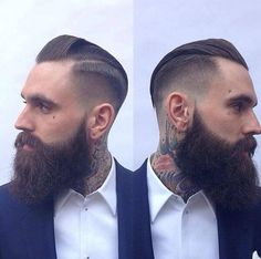 Ricki Hall with a fresh trim - full thick dark beard beards bearded man men mens' style tattoos tattooed hairstyle hair cut barber handsome #beardsforever