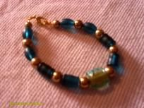 Blue-Green and gold bracelet***FREE SHIPPING***