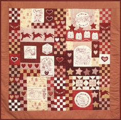 WISH QUILT- free Red Brolly pattern - Red and White with redwork quilt