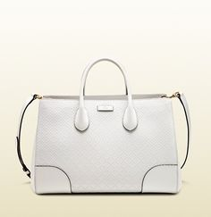 """Gucci  description white diamante LEATHER with white leather trim light fine GOLD hardware NATURAL linen Gucci jacquard lining medium size: 14""""W x 9.6""""H x 7.5""""D Made in Italy leather tag with dry-stone embossed gucci trademark reinforced leather panels hand-painted edges top handles with 4"""" drop detachable and adjustable shoulder strap with 20.5"""" drop interior zip and smartphone pockets interior zip compartment open top protective metal feet"""