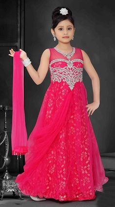 Reddish Pink Brocade Readymade Kids Gown
