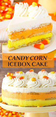 This Candy Corn Icebox Cake is such a fun, cute and tasty Halloween dessert idea! It's completely no bake, and it's full of delicious vanilla and buttery shortbread! Icebox Cake Recipes, Best Cake Recipes, Dessert Recipes, Halloween Desserts, Easy Halloween, Torte Cake, Candy Corn, Shortbread, Yummy Cakes