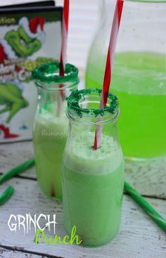 Grinch Punch Recipe Hawaiian punch lemon lime splash 7up Vanilla ice cream Green sparkling sugar