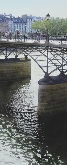 "www.facebook.com/MiaFeigelson  ""Miroitements sous le Pont des Arts"" (2011) By Thierry Duval, from Paris  - original watercolor; 82 x 33 cm; 32.3 x 13 in - Private Collection - Suiha Gallery, Tokyo, Japan www.facebook.com/thierry.duvalaquarelles www.aquarl.free.fr/"