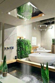 leben u wohnen grün badezimmer ideen bilder deko ideen regendusche How To Choose A Set Of Sheets For Bathroom Spa, Modern Bathroom, Bathroom Ideas, Skylight Bathroom, Japanese Bathroom, Bathroom Goals, Bathroom Furniture, Natural Bathroom, Bathroom Remodeling