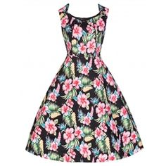 Hibiscus Pin Up Dresses Plus Size Flower Black