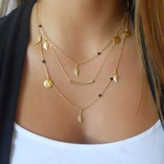 2017 NEW HOT 3 LAYER CHAIN BAR NECKLACE BEADS AND LONG STRIP PENDANT NECKLACE