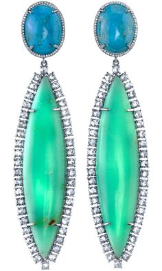 Irene Neuwirth Turquoise, Chrysoprase & Diamond Earrings