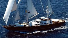 Sailing Yacht Corelia.Considered as modern ketch motor sailer, this 48 m (158 ft) luxury yacht was crafted at Perini Navi in 1993.