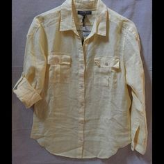 Tommy Bahama Two-Palms Easy Shirt Tommy Bahama Two-Palms Easy Shirt, 100% Linen, color-Lemon Twist, multiple sizes. Tommy Bahama Tops Button Down Shirts