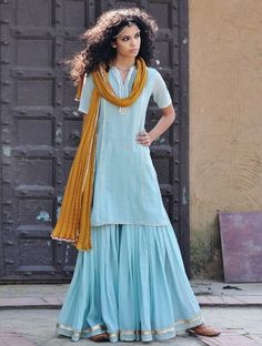Pale Blue-Mustard Gota Embellished Cotton Kurta & Elasticated Waist Sharara & Crinkled Dupatta Set of 3