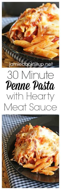 Penne Pasta with Hearty Meat Sauce 30 Minute Meal, Call Me Mrs. Rapp: Penne Pasta with Ground Turkey Marinara Meat Sauce, Penne Pasta with M. Penne Recipes, Beef Recipes, Whole Food Recipes, Cooking Recipes, Skillet Recipes, Skillet Meals, Yummy Recipes, Whole30 Recipes, Pasta Dishes