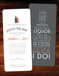 CHEERS! Welcome to Polkaprints! Stock the Bar invitations are great for a couples shower, bridal shower or even bachelorette parties! {SPECIFICS} 9x4