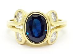 18k Yellow Gold 2ct Bezel Oval Cut Blue Sapphire Round Brilliant Cut Diamond Cocktail Ring Size 5.5 by AntiqueJewelryLine on Etsy