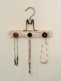 Shabby Chic Jewelry Hanger by RusticAttic on Etsy Shabby Chic Jewelry, Shabby Chic Style, Organization Hacks, Organizing, Crafts To Make, Arts And Crafts, Grey Couches, Decluttering Ideas, Jewelry Hanger