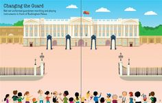 """Pages from """"First Sticker Book: London""""  #new #children's #books #Usborne #Stickers #London #BuckinghamPalace #Queen #England #Seeinside #illustration www.usborne.com"""