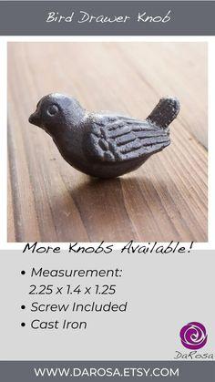 Bird Cabinet Knob in Cast Iron Woodland Decor Drawer Knob image 4