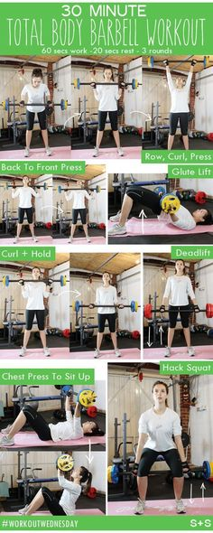 According to total body barbell workouts will build lean body mass burn fat lower your overall weight and improve your general fitness level and health condition So grab. Fitness Workouts, Weight Lifting Workouts, Weight Training, At Home Workouts, Fitness Tips, Health Fitness, Training Workouts, Body Fitness, Weight Lifting For Women