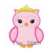 owl princess applique machine embroidery design
