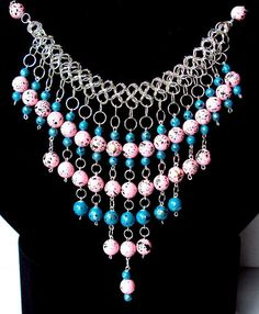 blue and pink statement necklace Bib Necklaces, Necklace Ideas, Statement Necklaces, Handcrafted Jewelry, Unique Jewelry, Jewelry Ideas, Chainmaille, Diy Jewelry Making, Cool Things To Buy