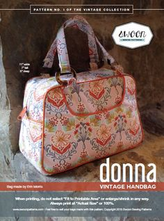 Swoon Patterns: Donna Vintage Handbag - PDF Bag Purse Handbag Sewing Pattern by SwoonPatterns on Etsy https://www.etsy.com/listing/230178070/swoon-patterns-donna-vintage-handbag-pdf