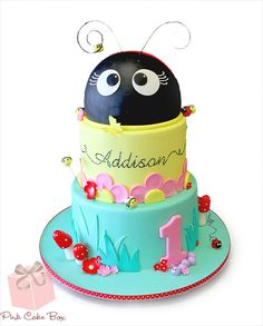 This cake is based on a design by Sweet Disposition Cakes and was created for Addison's first birthday.