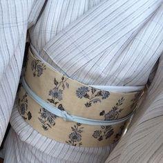 夏下井紬とジャワ更紗Reisiaさんの帯 #下井紬 #Reisia  #単着物