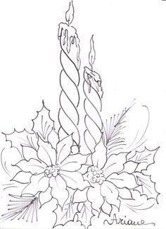 Pintura em Tecido Passo a Passo: Pintura em tecido - Vela e Flor de Natal