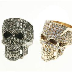 Brass and Crystal Skull Ring