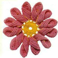 Flores de Crochet con Petalo doble - Patrones Crochet