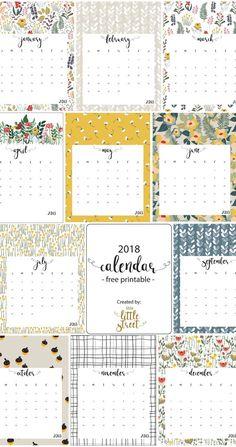 free printables calendar 2018