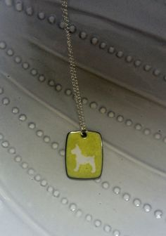 Enameled dog tag necklace by kristybrabydesign on Etsy