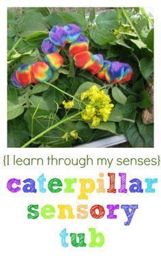 For some fun sensory play in the garden, create a caterpillar touchy-feely tub.