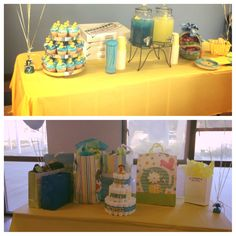 Thanks Pinterest for helping me plan a great baby shower! Rubber Ducky theme! I did the diaper cake, put rubber duckies on the cupcakes and did the beverage dispensers to match the color scheme! (I also put rubber duckies on top of the punch)
