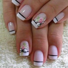 The flowers add a nice touch French Tip Nail Designs, French Tip Nails, Nail Art Designs, Finger, Pretty Nail Art, Flower Nails, Nail Arts, Manicure And Pedicure, Toe Nails