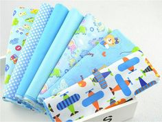 7 Pieces Blue Summer Cartoon Cotton Fabric Fat Quarters Quilting Cloth on Etsy, 88.31₪