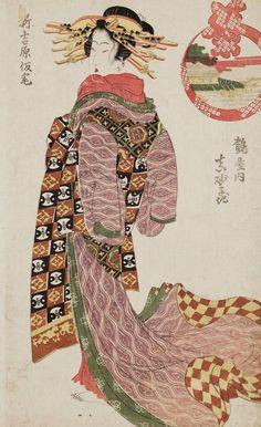 Masagoji of the Tsuruya. Ukiyo-e woodblock print, early 1800's, Japan, by artist Kikugawa Eizan.