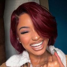 Black-Girl-with-Short-Red-Hair Latest Short Haircuts for Women 2019 frisuren frauen frisuren männer hair hair styles hair women Latest Short Haircuts, Short Bob Hairstyles, Wig Hairstyles, Medium Haircuts, Black Hairstyles, Pretty Hairstyles, Choppy Haircuts, Hairstyles Videos, Hairstyle Short