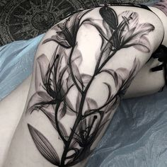 Black and white lily tattoo by Matt Jordan - 55 Awesome Lily Tattoo Designs <3 <3