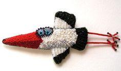 "Helen Kolomoets. Brooch ""Stork"" Bead embroidery and felting. Елена Коломоец. Брошь ""Аист"". Вышивка бисером и сухое валяние."