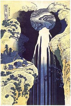 """Kisoji no oku Amida ga taki"" (""Amida Waterfall on the Kiso Road"") 1832. by Katsushika Hokusai."