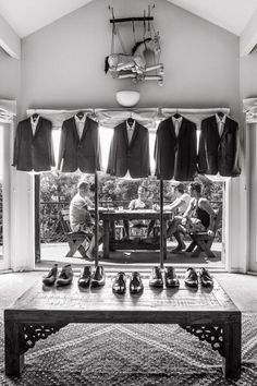 """Why We Love It: We love this relaxed pre-wedding photo of the groom with his groomsmen!Why You Love It: """"It's almost like a stolen look…"""